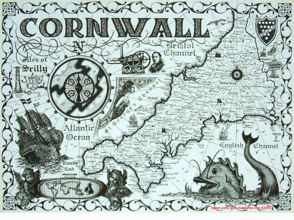 Map showing outline of Cornwall